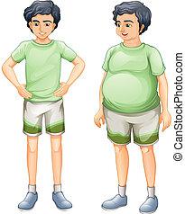 2명의 소년, 와, 같은, 셔츠, 그러나, 의, 다른, 몸, 크기