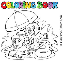 2, été, thème, livre coloration