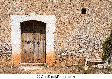(2), öreg, belépés, fából való, falusias