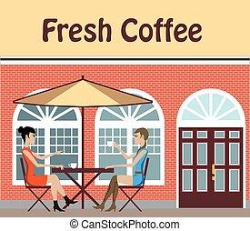 2, ženy, vypít káva, v, jeden, výčep