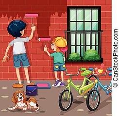2 αγόρι , ζωγραφική , άρθρο εξωτερικός τοίχος οικοδομής , κόκκινο
