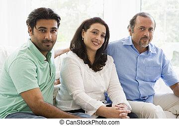 2 ανήρ , και , ένα , γυναίκα βαρύνω , μέσα , καθιστικό , χαμογελαστά , (high, key)