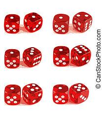 2, игральная кость, -, показ, все, чисел, (1, of, 3)