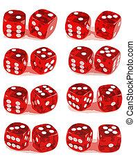 2, игральная кость, показ, все, чисел, (2, of, 3)