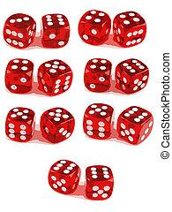 2, игральная кость, показ, все, чисел, (3, of, 3)