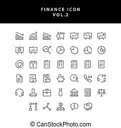 2, アウトライン, アイコン, 金融, ビジネス, vol., セット