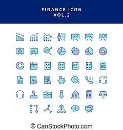2, アウトライン, 満たされた, アイコン, 金融, ビジネス, vol., セット
