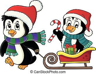 2, イメージ, ペンギン, クリスマス, そり
