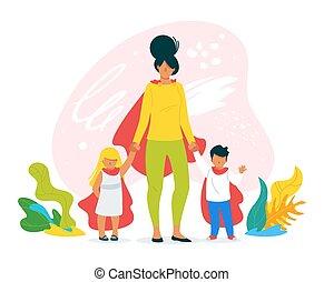 2, イラスト, 手, ベクトル, 母, 引かれる, 子供