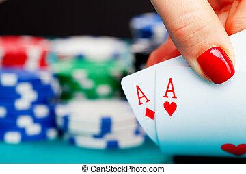 2, エース, そして, 賭けることは 欠ける