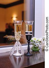 2, ガラス, ∥で∥, シャンペン, 結婚式, スタイル, 花嫁と花婿
