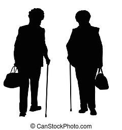2, シルエット, の, a, 古い 女性