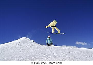 2, スノーボーダー, 中に, 地勢, 公園, ∥において∥, スキーリゾート, 上に, 太陽, 冬, 日