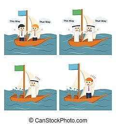 2, セット, ビジネス, 航海, 人々