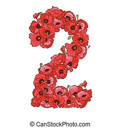 2, ディジット, 作られた, の, 赤, ケシ, flowers., 花, 要素, の, カラフルである, アルファベット, 作られた, から, flowers., ベクトル, イラスト