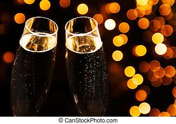 2, バックグラウンド。, 場所, 流行, 黒, シャンペン ガラス