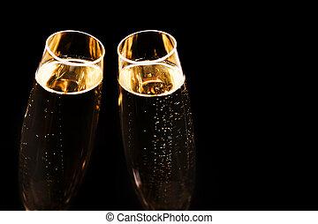 2, バックグラウンド。, 黒, 流行, シャンペン ガラス