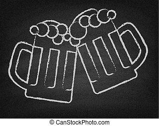 2, ビール, 大袈裟な表情をする, 上に, a, 黒板