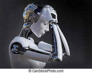 2., レンダリング, ロボット, nr, 女性, 叫ぶこと, 3d