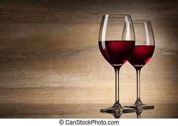 2, ワイン, glases, 上に, a, 木製である, 背景