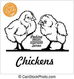 2, 丈いっぱいに, から, 株, -, 鶏, 朗らかである, かいま見ること, 鶏, ベクトル, 白, 隔離された