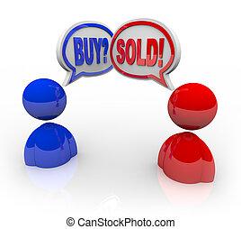 2, 例証された, ビジネス 人々, ∥で∥, スピーチ, 泡, そして, ∥, 言葉, 買って、そして売りなさい,...