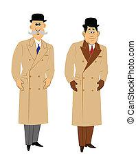 2 個人, 在, retro風格, 大衣