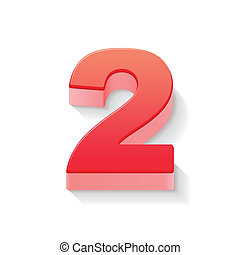 2, 光沢がある, 数, 赤, 3d