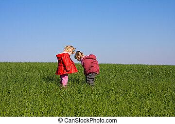 2, 女の子, 子供, 中に, 自然