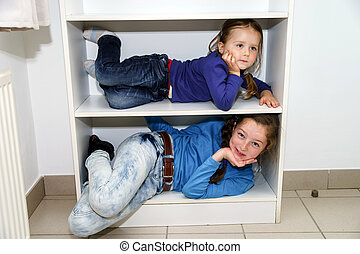 2, 姉妹, 一致, 貯蔵の 棚