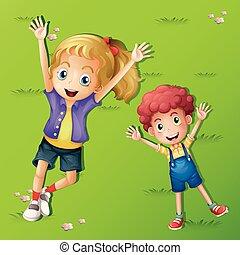 2, 子供, 芝生の上に横たわる