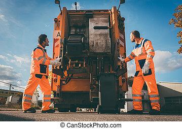2, 屑, コレクション, 労働者, ローディング, ごみ, に, 無駄, トラック