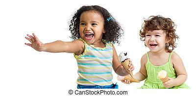 2, 幸せ, 子供たちが食べる, アイスクリーム, 白