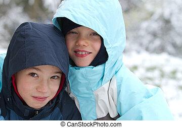 2, 微笑, 子供, 中に, 冬