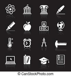 2., 教育, セット, アイコン