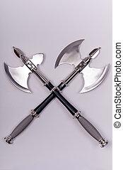 2, 斧, 交差させる