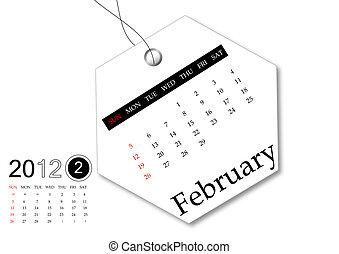 2 月, の, 2012, カレンダー