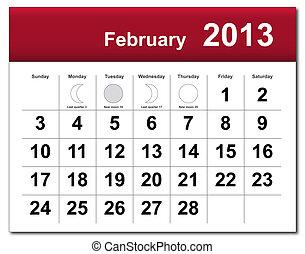 2 月, カレンダー, 2013