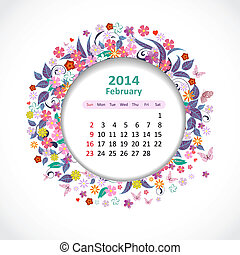 2 月, カレンダー, 2014