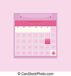 2 月, スケジュール, マンスリー, デザイン, 2014, カレンダー