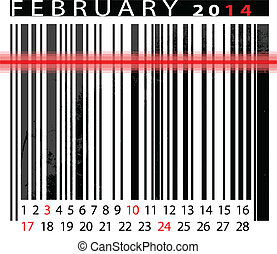 2 月, ベクトル, barcode, イラスト, カレンダー, 2014, design.