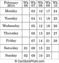 2 月, 弱い, 数, それぞれ, 2014, カレンダー