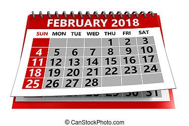 2 月, 2018, カレンダー