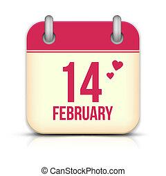 2 月14 日, 反射。, バレンタイン, カレンダー, 日, アイコン