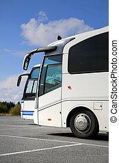 2, 白, コーチ, バス, そして, 夏, 空