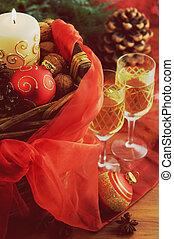 2, 装飾, バスケット, シャンペン, クリスマス, ガラス