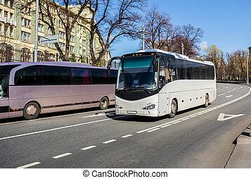 2, 観光客, バス, 行きなさい, 下方に, ∥, 通り