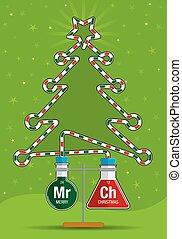 2, 試験管, ∥で∥, 赤 と 緑, 液体, 中, 接続される, によって, a, ガラスチューブ, それ, 形態, ∥, シルエット, の, a, クリスマスツリー, -, ベクトル, イメージ