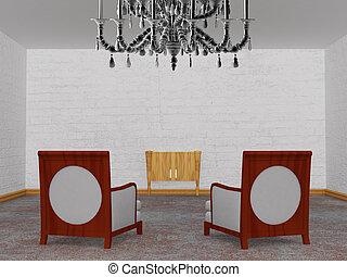 2, 贅沢, 椅子, ∥で∥, 木製である, コンソール, 中に, ミニマリスト, 内部