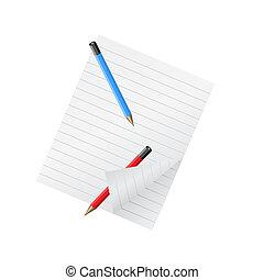 2, 鉛筆, そして, ペーパーのシーツ